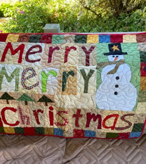 Merry Merry Christmas Primitive Wall Quilt