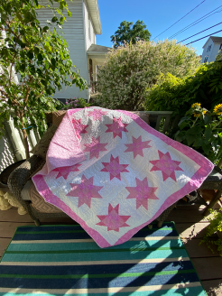 Bright Pink Baby Girl Bright Stars Baby Quilt