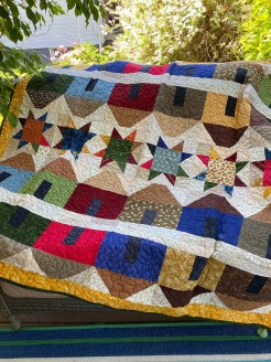 Saltbox Houses  in a Row with Stars Primitive Quilt